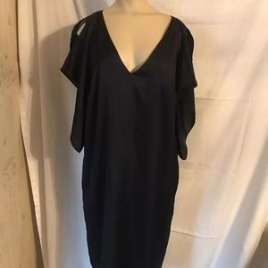 Rachel Roy navy blue shift dress with flutter, 0X